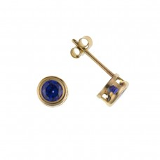 9ct Gold 4mm Tanzanite Cubic Zirconia Stud Earrings