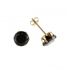 9ct Gold 5mm Black  Cubic Zirconia Stud Earrings