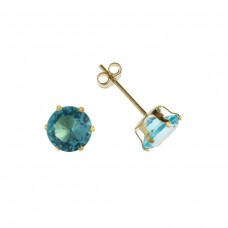 9ct Gold 5mm Blue Cubic Zirconia Stud Earrings
