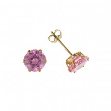 9ct Gold 5mm Pink Cubic Zirconia Stud Earrings