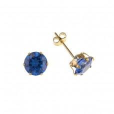 9ct Gold 5mm Tanzanite Cubic Zirconia Stud Earrings