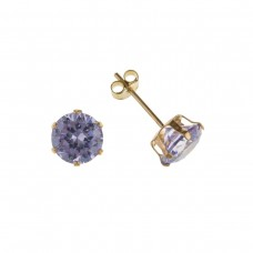 9ct Gold 6mm Lavender Cubic Zirconia Stud Earrings