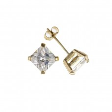 9ct Gold 6mm Square White Cubic Zirconia Stud Earrings 1.47gms