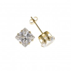 9ct Gold 6mm Square White Cubic Zirconia Stud Earrings 0.78gms