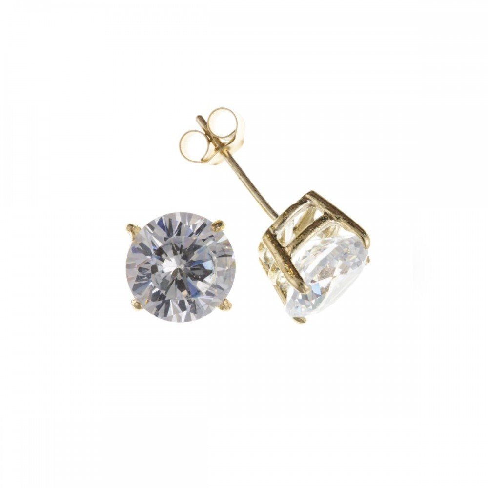 357a2322e 9ct Gold 7mm White Cubic Zirconia Stud Earrings