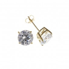 9ct Gold 7mm White Cubic Zirconia Stud Earrings
