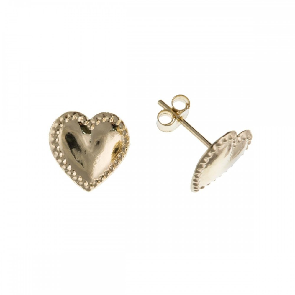 9ct Gold Beaded Edged Heart Stud Earrings