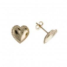 9ct Gold Beaded Edged Heart Stud Earrings