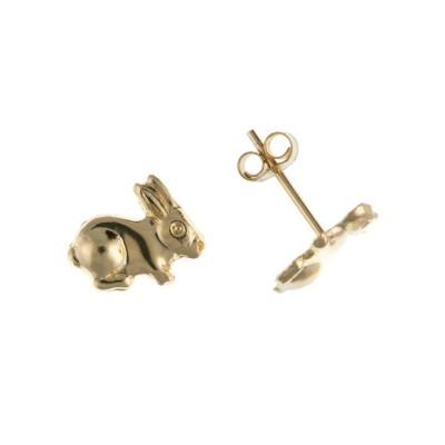 9ct Gold Bunny Rabbit Stud Earrings
