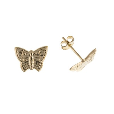 9ct Gold Butterfly Stud Earrings