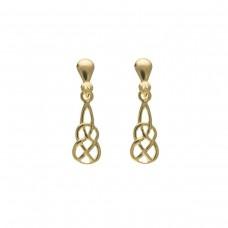 9ct Gold Celtic Design Drop Earrings
