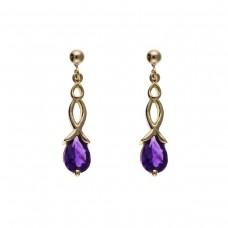 9ct Gold Celtic Style Amethyst Drop Earrings