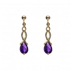 9ct Gold Celtic Style Amethyst Drop Earrings