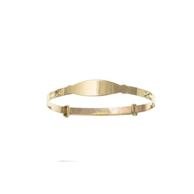 9ct Gold Childs Diamond Cut Expanding Bangle With Identity Plate