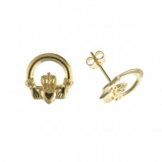 9ct Gold Claddagh Stud Earrings