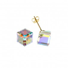 9ct Gold Crystal Cube Stud Earrings