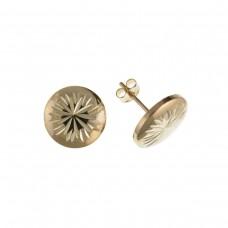 9ct Gold Diamond Cut Button Stud Earrings
