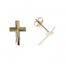 9ct Gold Diamond Cut Cross Stud Earrings