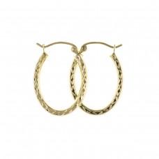 9ct Gold Diamond Cut Oval Creole Earrings