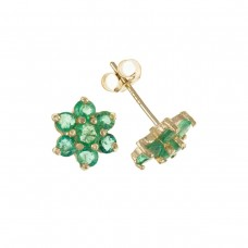 9ct Gold Emerald Cluster Stud Earrings