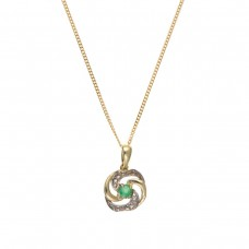 9ct Gold Emerald Pendant And 18'' Curb Chain