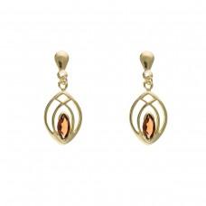 9ct Gold Garnet Celtic Style Drop Earrings