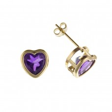 9ct Gold Heart Amethyst Stud Earrings