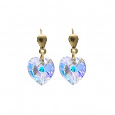 9ct Gold Heart Crystal Drop Earrings