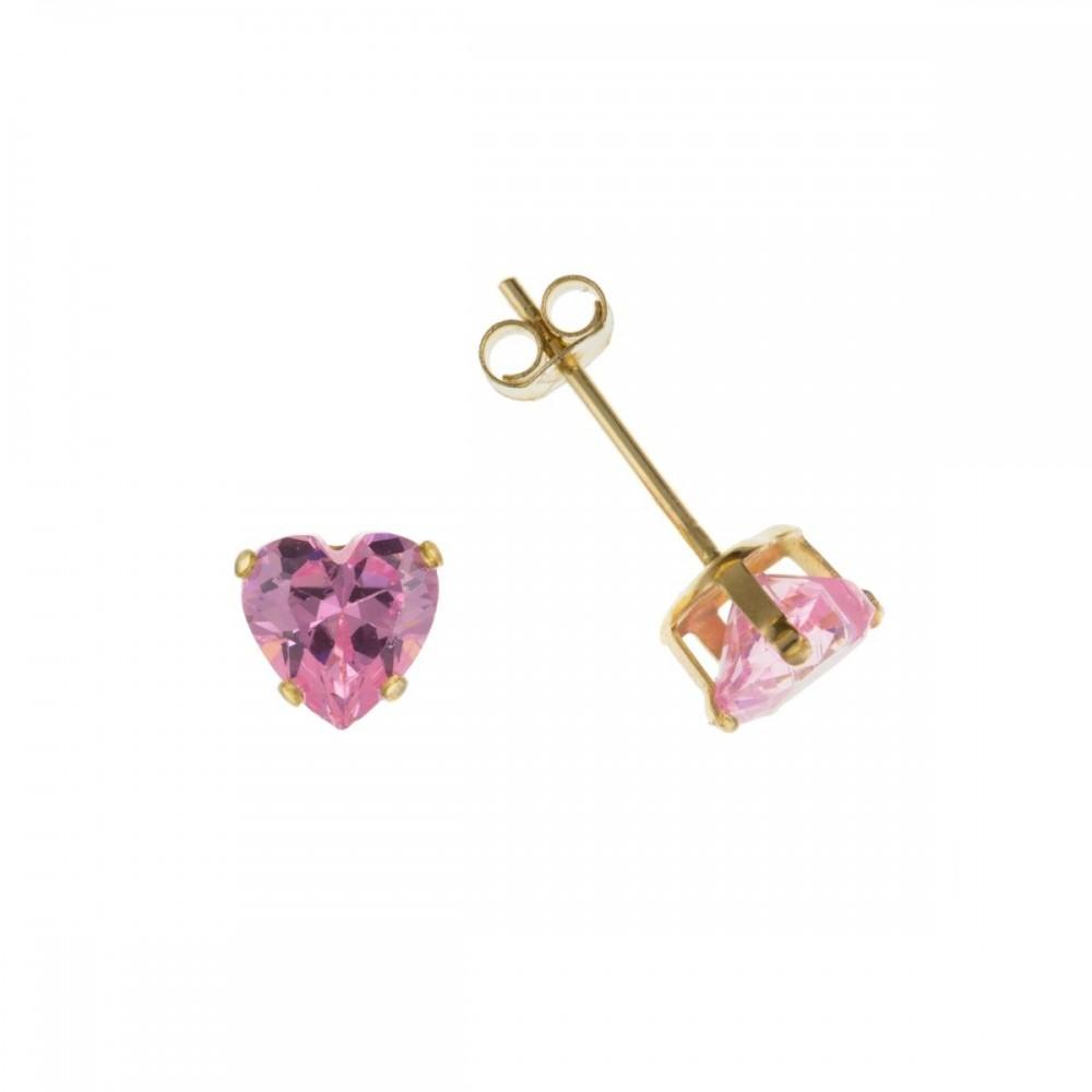 af7516b78 9ct Gold Heart Pink Cubic Zirconia Stud Earrings