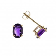 9ct Gold Oval Amethyst Stud Earrings