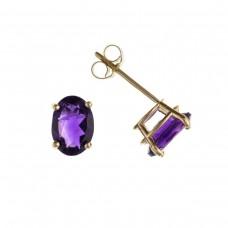9ct Gold Oval Amethyst Stud Earrings