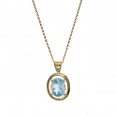 9ct Gold Oval Blue Topaz Pendant And 18'' Curb Chain