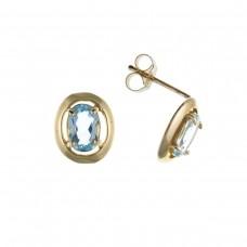 9ct Gold Oval Blue Topaz Stud Earrings 1.10gms