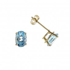 9ct Gold Oval Blue Topaz Stud Earrings 0.82gms