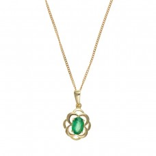 9ct Gold Oval Emerald Pendant And 18'' Curb Chain