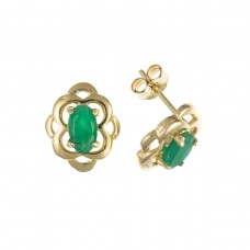 9ct Gold Oval Emerald Stud Earrings