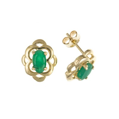 9ct Gold Oval Emerald Stud Earrings