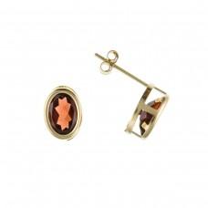 9ct Gold Oval Garnet Stud Earrings 1.32gms