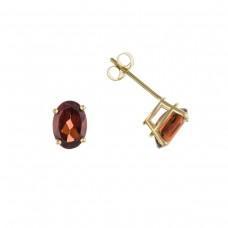 9ct Gold Oval Garnet Stud Earrings 0.89gms