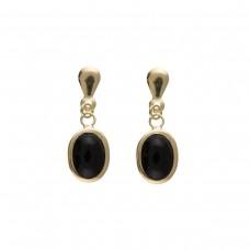 9ct Gold Oval Onyx Drop Earrings