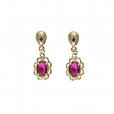 9ct Gold Oval Ruby Drop Earrings