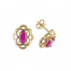 9ct Gold Oval Ruby Stud Earrings