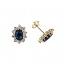 9ct Gold Oval Sapphire And Cubic Zirconia Stud Earrings