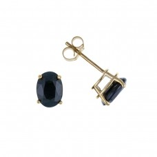 9ct Gold Oval Sapphire Stud Earrings