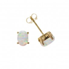 9ct Gold Oval Synthetic Opal Stud Earrings