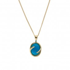 9ct Gold Oval Turquoise Pendant And 18'' Curb Chain