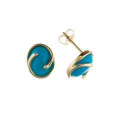 9ct Gold Oval Turquoise Stud Earrings