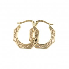 9ct Gold Patterned Hexagonal Creole Earrings