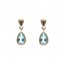 9ct Gold Pear Shaped Blue Topaz Drop Earrings 1.05gms