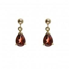 9ct Gold Pear Shaped Garnet Drop Earrings